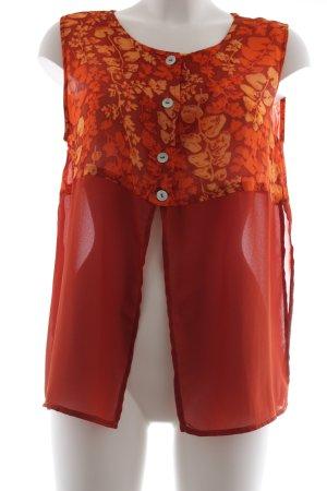 BIBA pariscop ärmellose Bluse dunkelorange-hellorange florales Muster Elegant