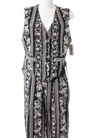 BIBA pariscop Anzugweste dunkelblau-creme abstraktes Muster extravaganter Stil