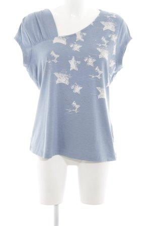 Biba Print Shirt neon blue-white abstract pattern casual look