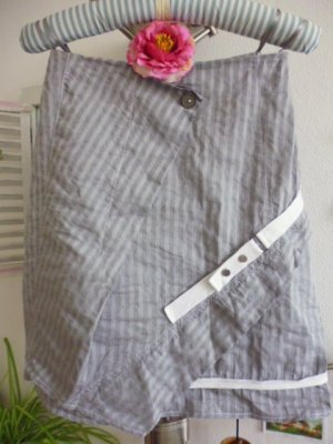 Biba Wraparound Skirt light grey-grey cotton