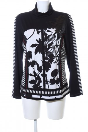 Biba Turtleneck Sweater black-white flower pattern casual look