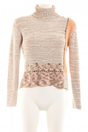 Biba Turtleneck Sweater cream-light orange cable stitch casual look