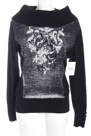 Biba Turtleneck Sweater black-white floral pattern casual look