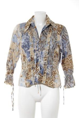 Biba Ruffled Blouse beige-light blue mixed pattern extravagant style
