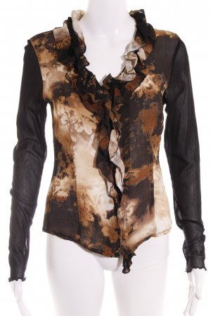 Biba Ruffled Blouse black-light brown abstract pattern casual look