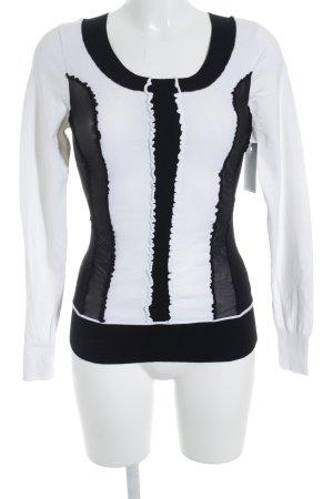 Biba Rundhalspullover schwarz-weiß Casual-Look