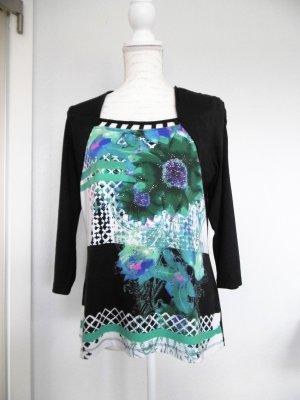 BiBa Shirt dunkelblau mit Blumenprint und Steinchen
