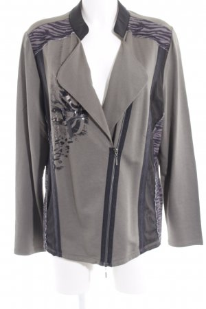 Biba Chaqueta estilo camisa caqui-negro estampado con diseño abstracto