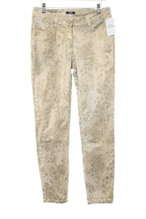 Biba Slim Jeans cream-gold-colored floral pattern casual look