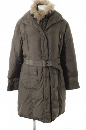 Biba Quilted Coat khaki wet-look