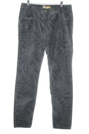 Biba Pantalón tipo suéter gris estampado temático look casual