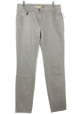 Biba Jeans a gamba dritta marrone-grigio motivo floreale stile casual