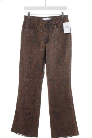 Biba Straight-Leg Jeans hellbraun-dunkelorange Aztekenmuster Boho-Look