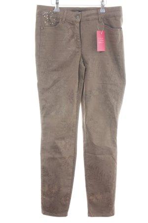 Biba Stretch Trousers bronze-colored flower pattern casual look