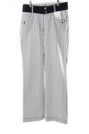 Biba Pantalone elasticizzato bianco-blu acciaio stile marinaro