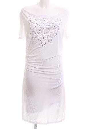 Biba Vestido elástico blanco-color plata look casual