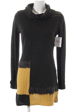 Biba Abito di maglia antracite-giallo scuro stile classico