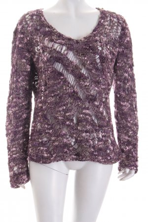 Biba Knitted Sweater dark violet-grey loosely knitted pattern extravagant style