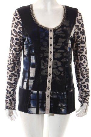 Biba Sweat Jacket dark blue-beige leopard pattern casual look