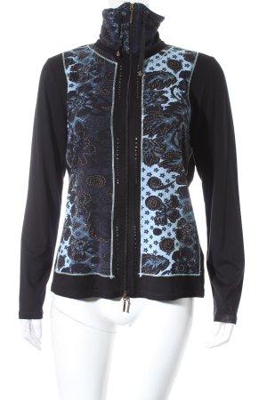 Biba Sweatjacke schwarz-himmelblau florales Muster Casual-Look