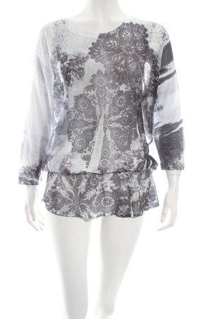 Biba Tunikabluse dunkelgrau-weiß florales Muster Casual-Look