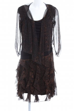 Biba Flounce Dress black-bronze-colored allover print elegant