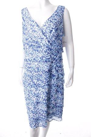 Biba Volantkleid weiß-blau florales Muster klassischer Stil