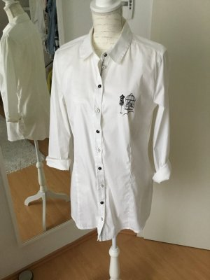 BiBa Weiße Longbluse  Hemd tailliert Größe 42