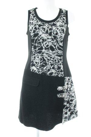 Biba Wollkleid schwarz-weiß Maltechnik-Muster extravaganter Stil