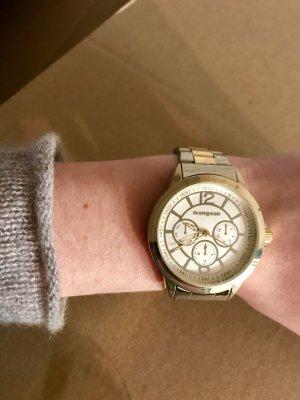 Manguun Reloj con pulsera metálica color oro-color plata