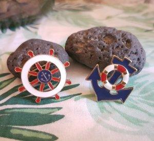 Bijou Brigitte Modeschmuck Anstecknadel Button Brosche Anker Steuerrad Rettungsring Maritim Kreuzfahrt