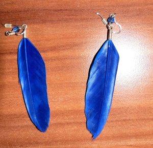 Bijou Brigitte Ohrringe Federn Blau Königsblau 925 Echtsilber