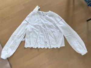 Bik Bok Bluse Blusenshirt Weiß Häkelspitze Hippie M