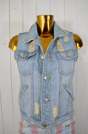 BIK BOK Damen Jeansweste Weste Denim Jeans Hellblau Used Look Destroyed Gr. M