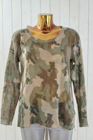 BIK BOK Damen Pullover Strick Acryl Camouflage Grüntöne Rundhals Gr.M