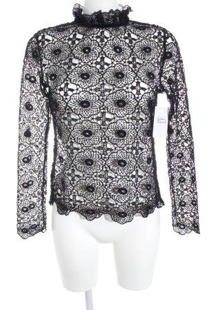 Bik Bok Top en maille crochet noir style transparent