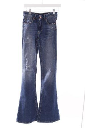 Bik Bok Jeansschlaghose stahlblau Destroy-Optik