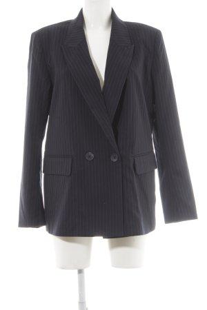 Bik Bok Long-Blazer dunkelblau-grau Streifenmuster Business-Look