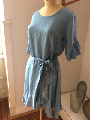 Bik Bok Flounce Dress pale blue-azure lyocell