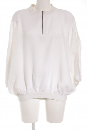 Bik Bok Oversized Bluse weiß-graugrün Motivdruck Casual-Look