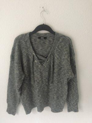 Bik Bok Pullover mit Schnürung Grau
