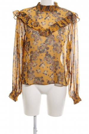 Bik Bok Transparenz-Bluse hellorange-braun Blumenmuster Casual-Look