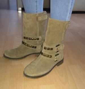 Biker Boots Gr. 38 Wildleder Nieten beige Festival Fashion Blogger Zara