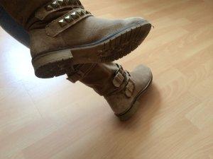 Biker Boots Gr. 38 Wildlederbeige Coachella Festival Fashion Blogger Zara