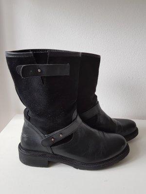 Biker Boots in Glattleder/Wildleder