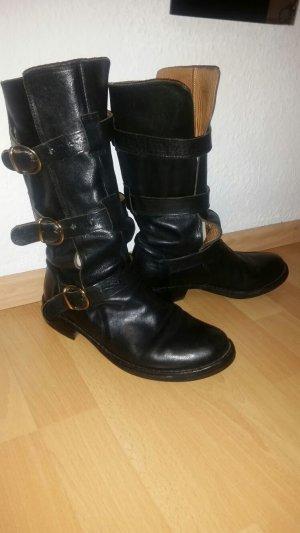 Biker-Boots Leder Schwarz