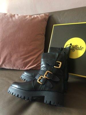 Biker Boots, schwarze Boots, goldene Schnallen,  Buffalo, neu, Gr. 38