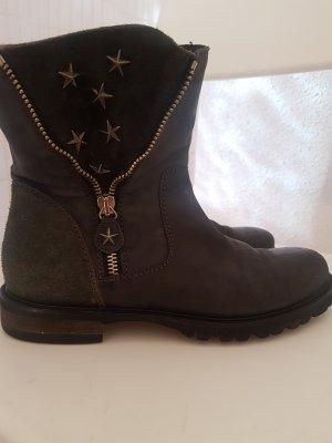 Biker Boots Stiefletten Stiefel Schwarz Nieten Sterne Leder