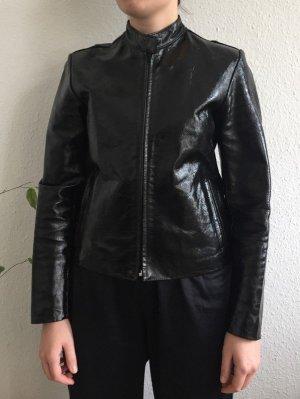 Biker glänzende schwarze retro Lederjacke mit Reißverschluss