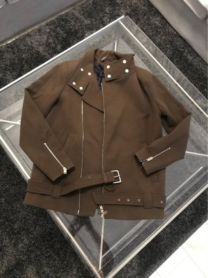 Biker Jacks Zara Khaki Grün Silber Details S